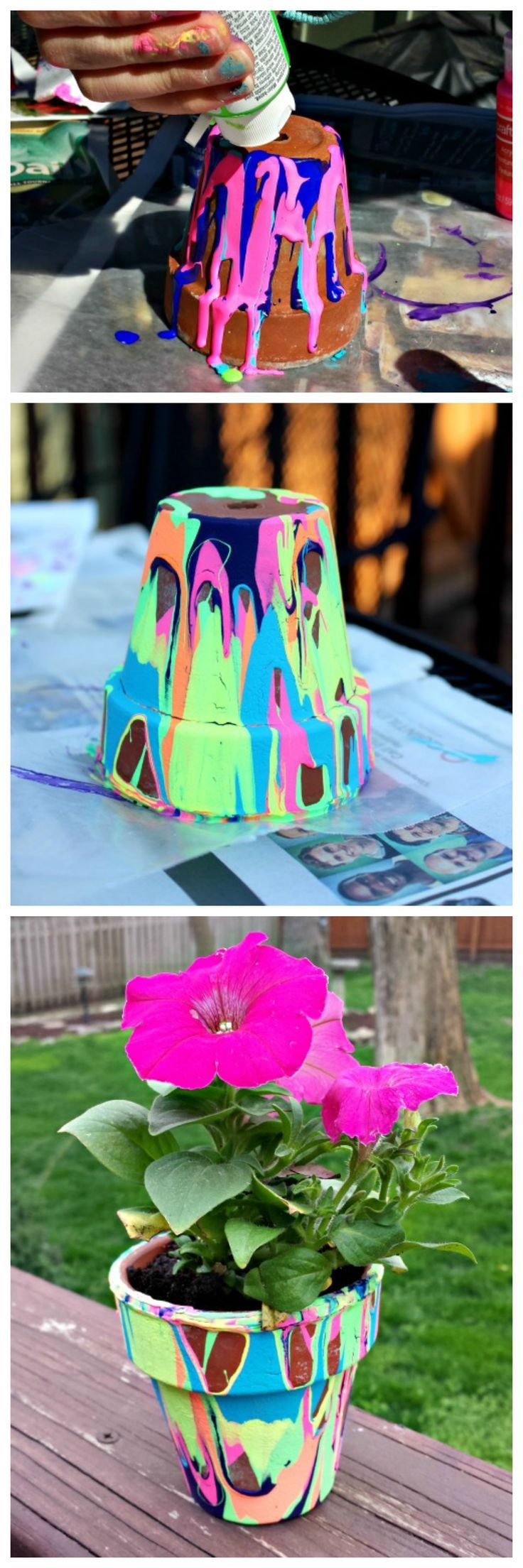 Perfect for Mother's Day or end-of-year teacher's gift – rainbow painted pour pots! Would be so fun to do outside with your class