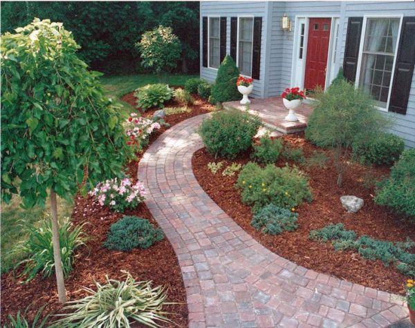 sidewalk garden sidewalk landscaping - Google Search   Back Yard Ideas
