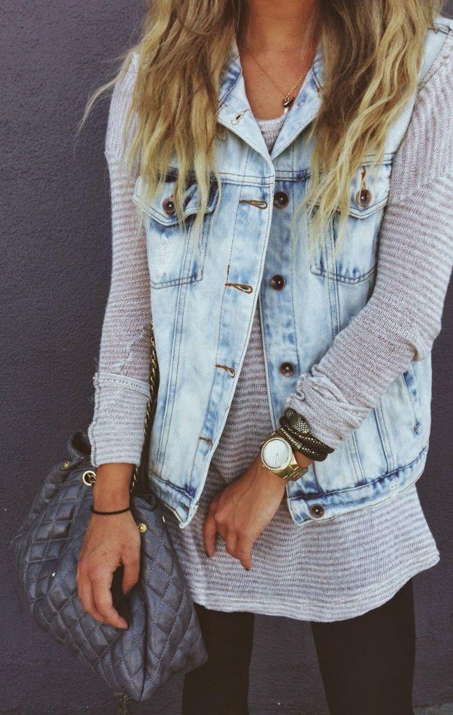Vintage Denim Vest on Fall Shoulders Sweater by