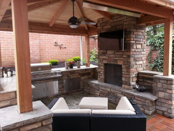 outdoor covered patio with fireplace outdoor fireplace, outdoor living, outdoor kitchen