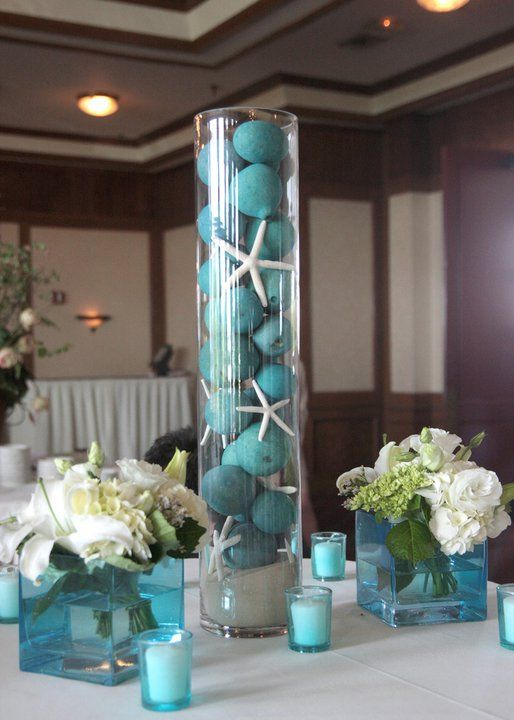 breakfast tiffanys bridal shower Table Top Centerpieces Ocean Theme Wedding Centerpieces