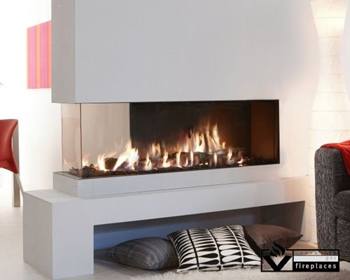 This Frameless Peninsula Fireplace Features A Full View At One End And A 13 Partial View On The