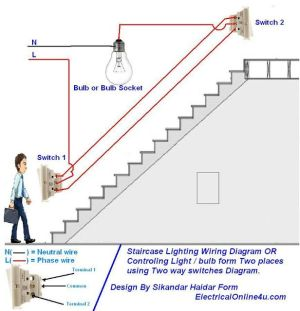 two way light switch diagram & Staircase Wiring Diagram