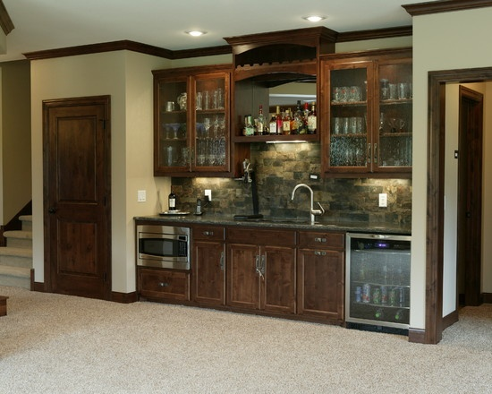 Basement Bar As A Room Divider, With A Door Joining The