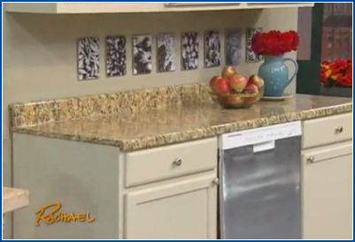 Wow! Instant Granite – $35 a roll – awesome fix for rental apartment counters!! (and can be removed using heat when you leave!)