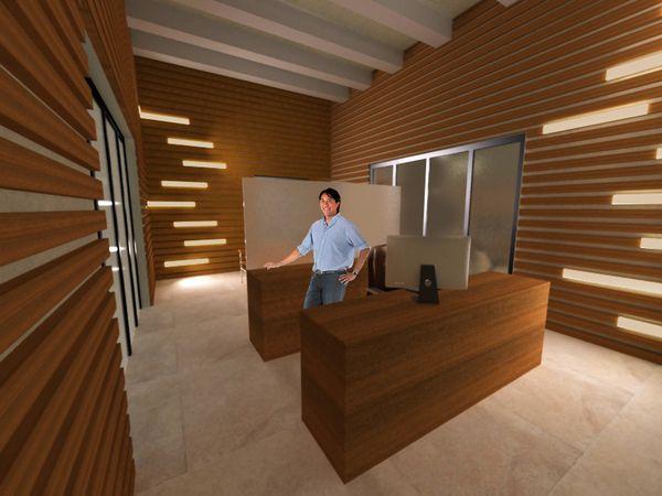 Lighted Wood Slat Walls