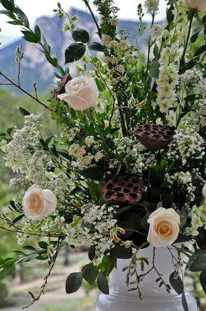 Large Wedding Centerpiece With Ivory Roses White Larkspur