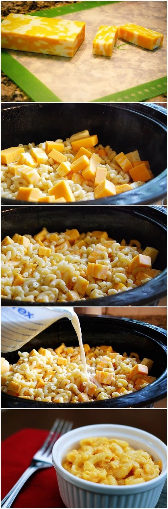 Crockpot Mac & Cheese .. i wonder if this will actually taste good.. if you put cooked mac in the crockpot and let it cook on low