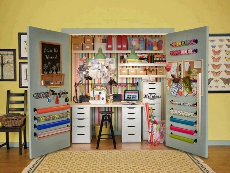Hideaway craft/sewing closet. Always available, easily hidden.: