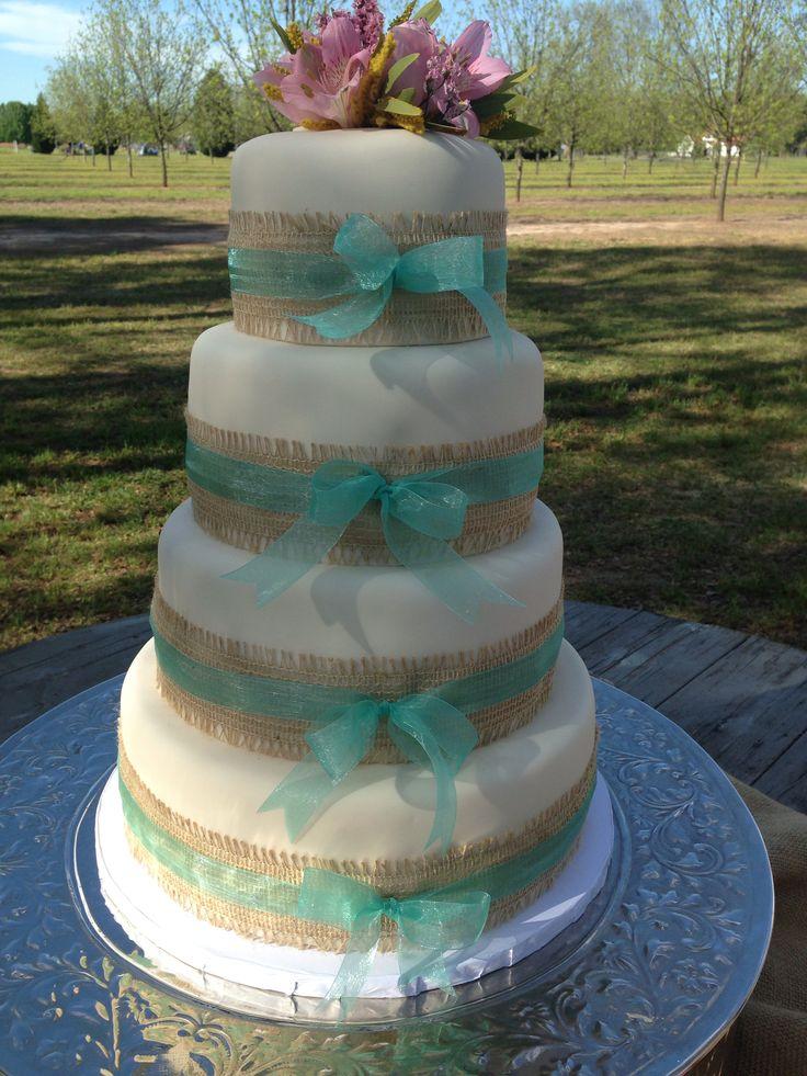 Burlap And Ribbon Wedding Cake Kuirky Cakes Pinterest