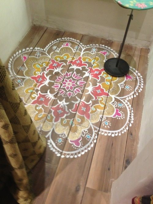 Floral Pattern Painted Wood Floors Decor Ideas