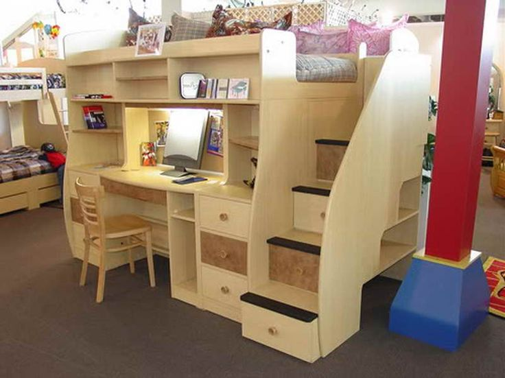 How To Build A Loft Bed With Desk Underneath With Brown