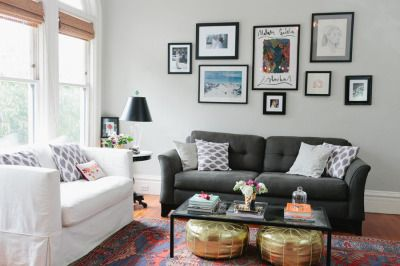 Turn your living room into a lovely space that's relaxing yet functional by selecting the right lighting. Living room with different color couches   Front Room ...