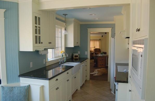 White Craftsman Galley Style Kitchen