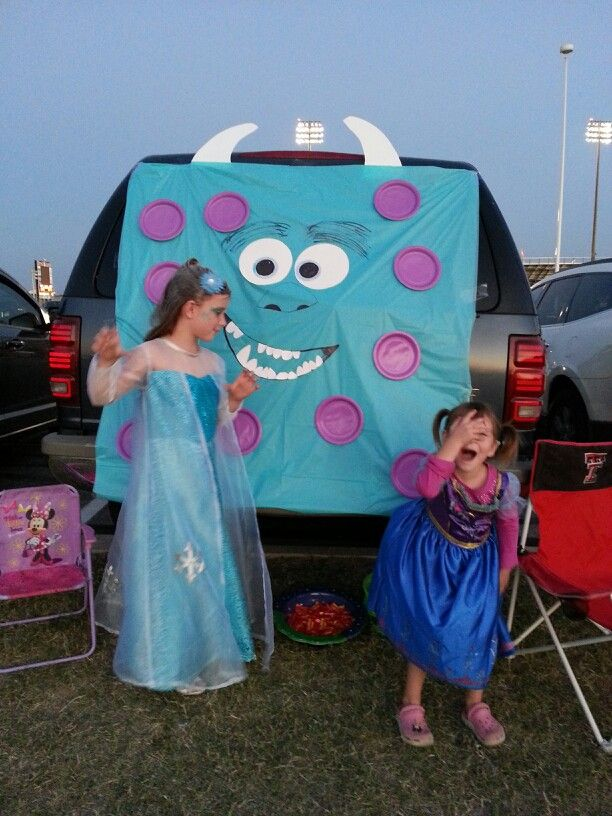 Sully Monsters Inc Trunk Or Treat For Under 3 Blue Plastic Tablecloth Folded Purple Paper