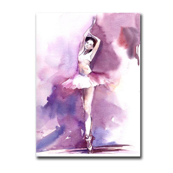Aquarelle Originale De Ballerine Danse Ballet Violet Par
