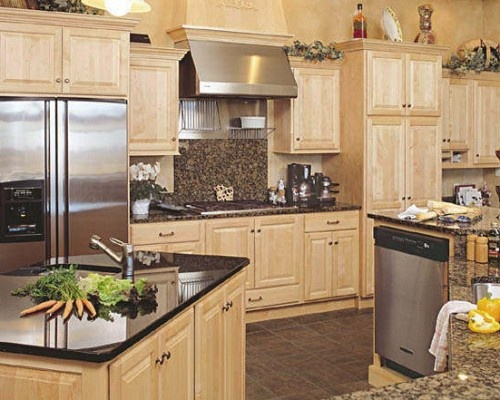 Maple Kitchen Cabinets with Granite Countertops | Home ... on Best Countertops For Maple Cabinets  id=45112