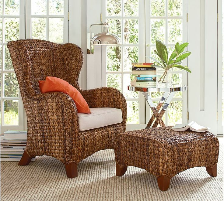 Seagrass Wingback Armchair And Ottoman From Pottery Barn