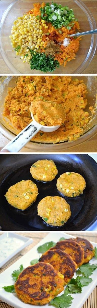 Sweet Potato Corn Cakes with Garlic Dipping Sauce… I have made theses today10-15-14. They are very good!! Even without the