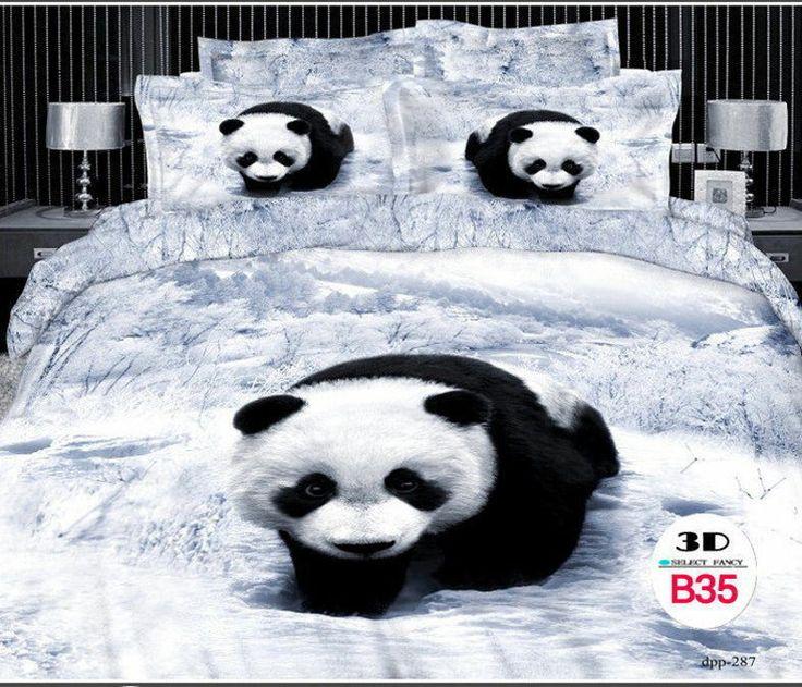 3D Print Queen Cotton Bedding Set 4 Pcs GrayBlack Panda Bear Duvet COVER Set Pandas