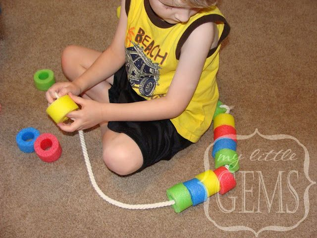 NOODLE LACING:( good for a rainy day for 2-6 year olds) Use pool-noodles to make water Noodle Snakes or necklaces