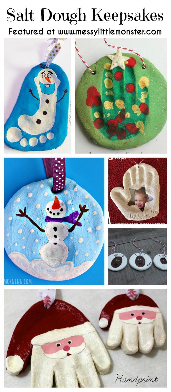 Christmas handprint, footprint and fingerprint Keepsakes made from salt dough.  Simple ornaments made