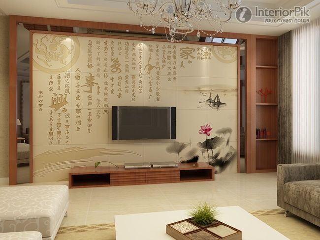New Chinese-style Living Room TV Background Wall Tile