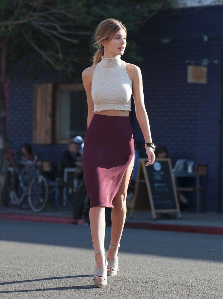 simple bodycon crop top + burgundy midi skirt love