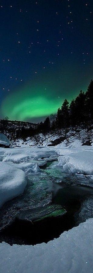 Northern Lights and Tennevik river in Troms, Norway  photo: Arild Heitmann on Flickr
