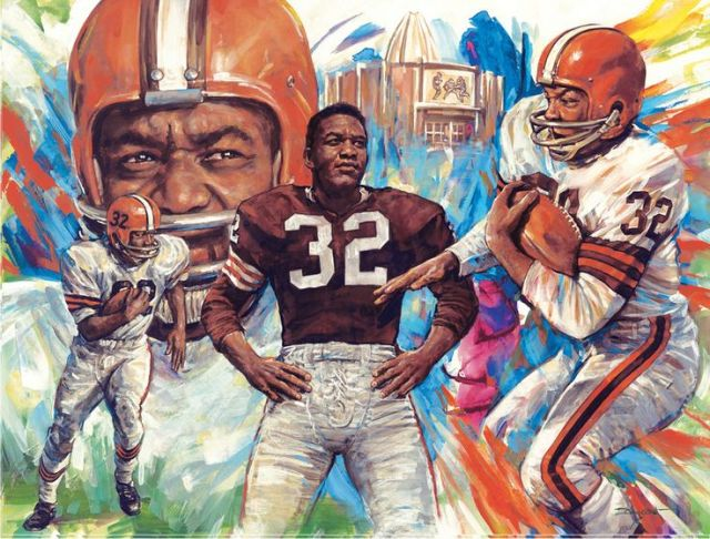 Image result for picture of Jim brown holding trophy