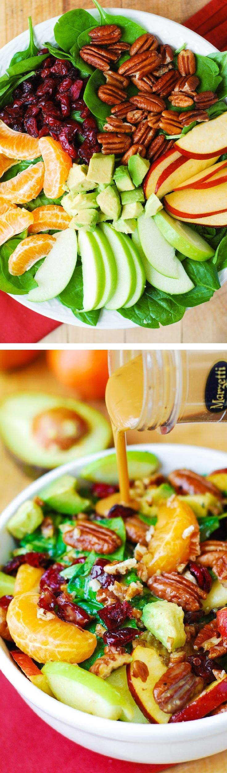 Apple Cranberry Spinach Salad with Pecans, Avocados – healthy, vegetarian, gluten free recipe.