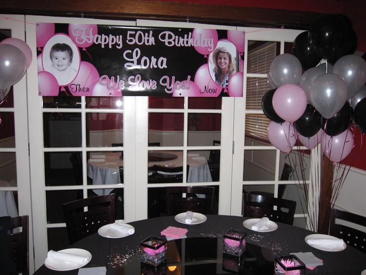Birthday Party Decor, Theme: Pink, Silver, Black -50th