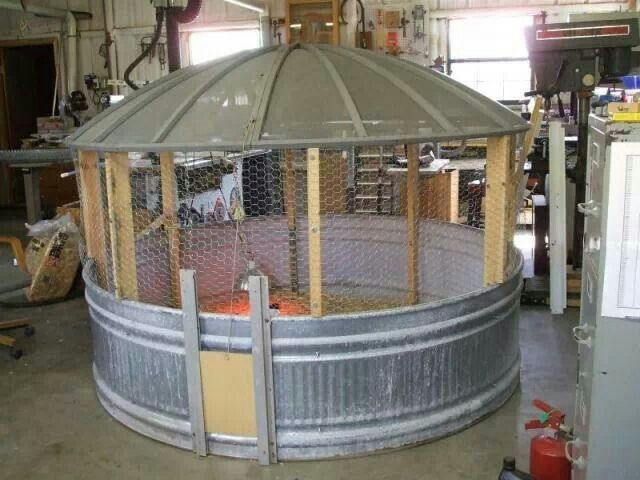 Great Chicken Coop Made From Large Galvanized Water Trough
