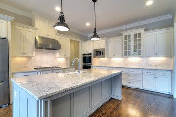 Colonial White Granite Floor Color Grey Island Cabinet