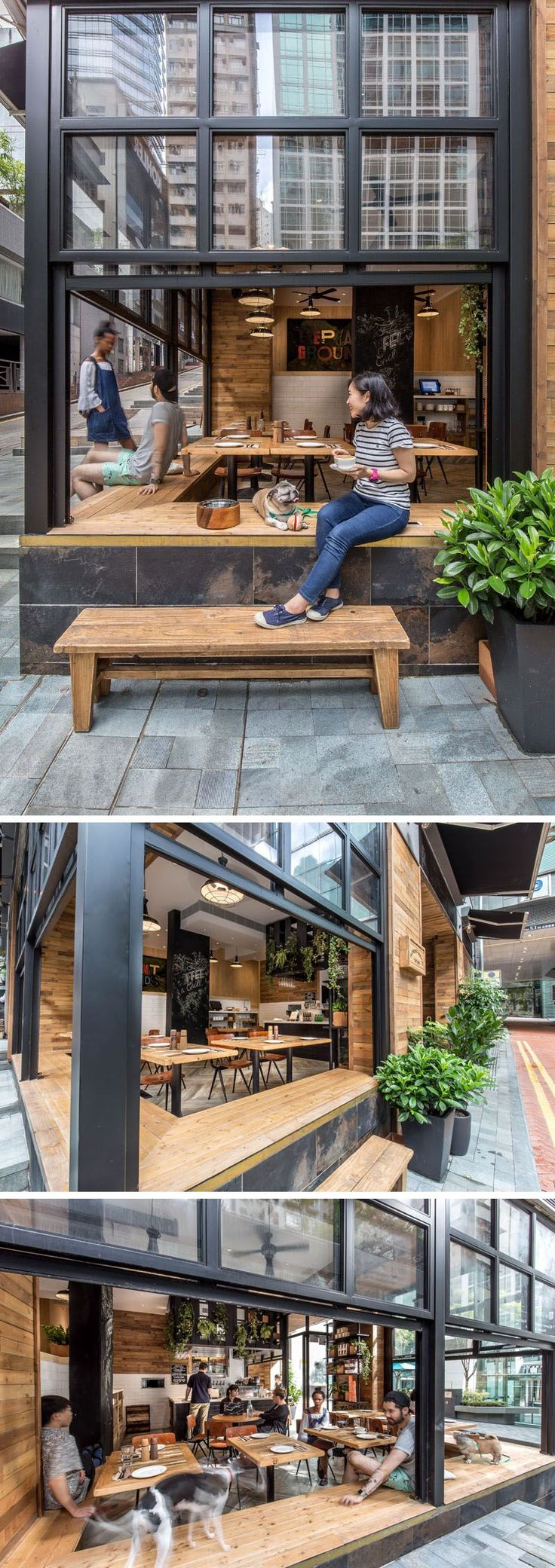 When the weather is nice, the windows of this cafe are opened up and people can…