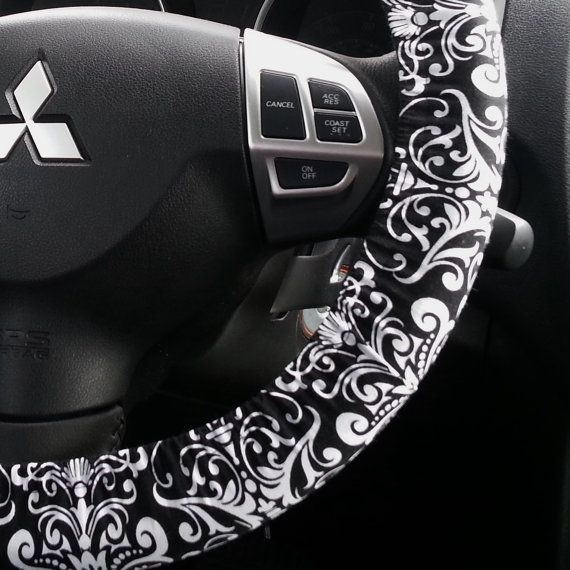 Steering Wheel Cover Black and White Damask Car by elgies on Etsy, $12.00