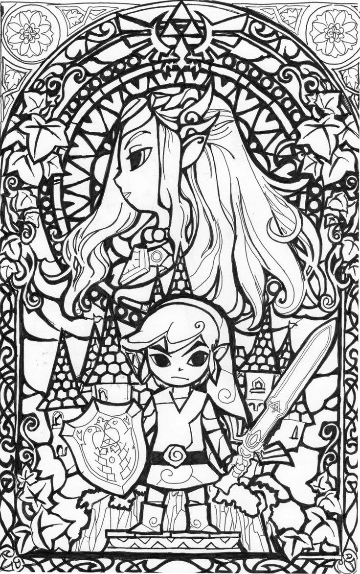 cool coloring page legend of zelda.  color  pinterest