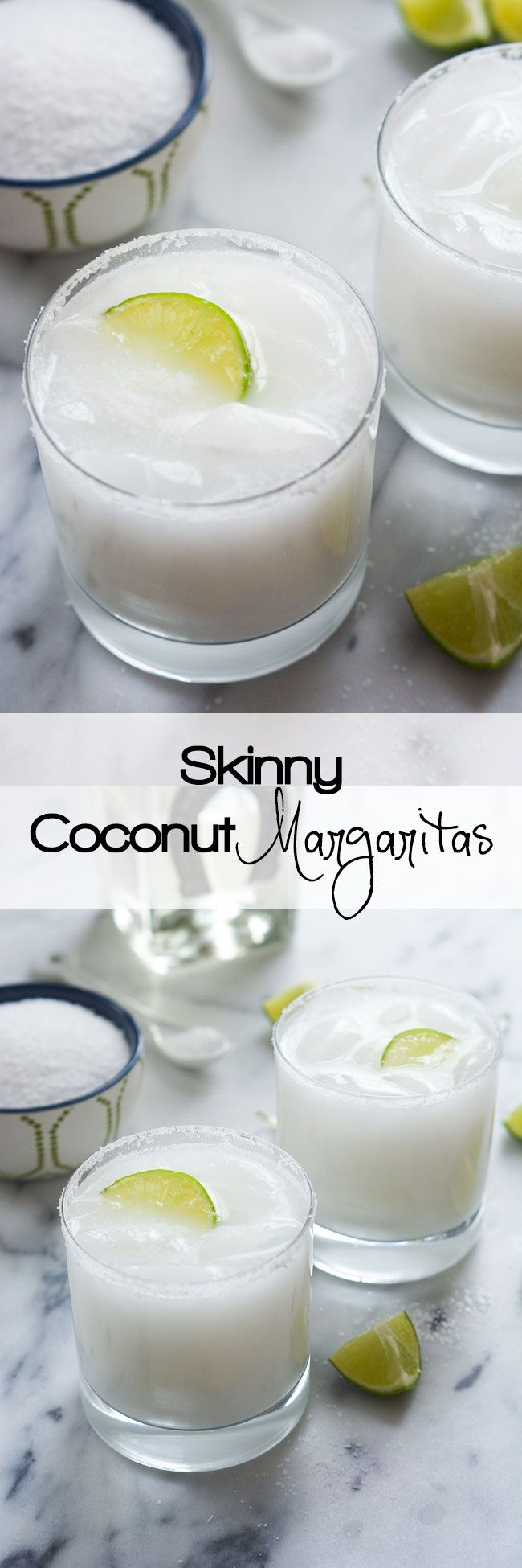 A tropical spin on the classic drink! These Skinny Coconut Margarita are made with lite coconut milk, coconut water, tequila