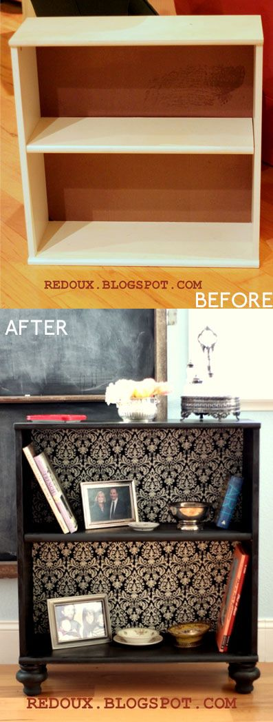 Add feet and wallpaper to a cheap bookcase – must do. would be nice to do in the FR on the toy shelves as the kids transition from