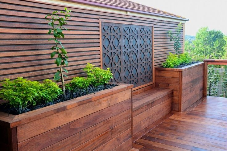 Merbau Decking With A Custom Made Screen, Planters And