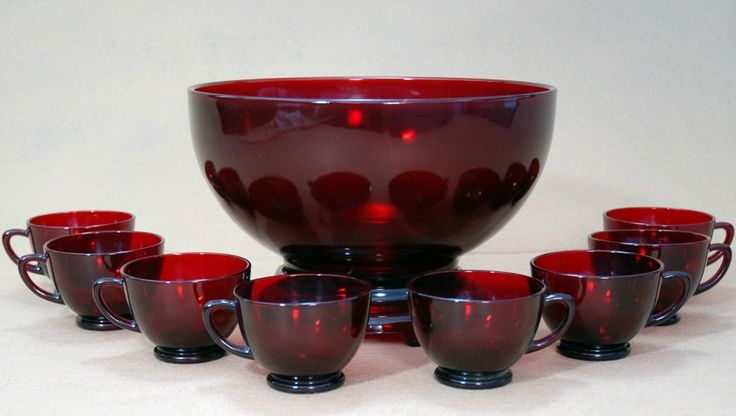 Anchor Hocking Royal Ruby Red Punch Bowl Set With Pedestal