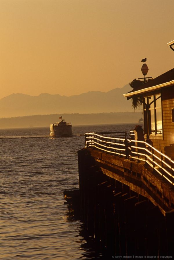 Ferry crossing Puget Sound, Seattle, Washington State ...