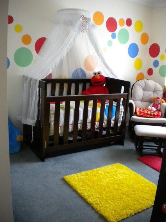Baby Nursery Love The Colourful Circles On Wall I Would Only Use A Sesame Street Room Decorsesame