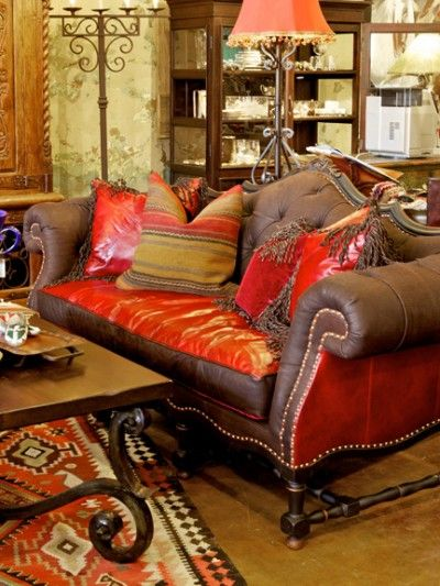 Carved Wooden Sofa For The Lottery Cabin With ORANGE Cushions Cowgirl Up Pinterest