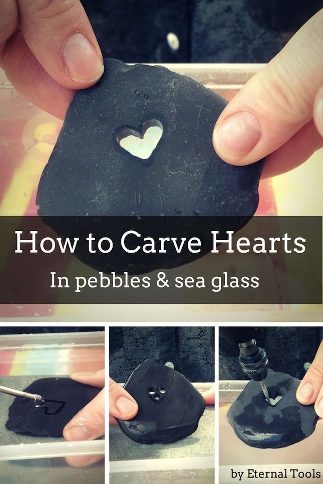 How To Carve A Heart in Pebbles, stone, sea glass and beach pottery by Eternal Tools. Take a Dremel rotary tool, a diamond core