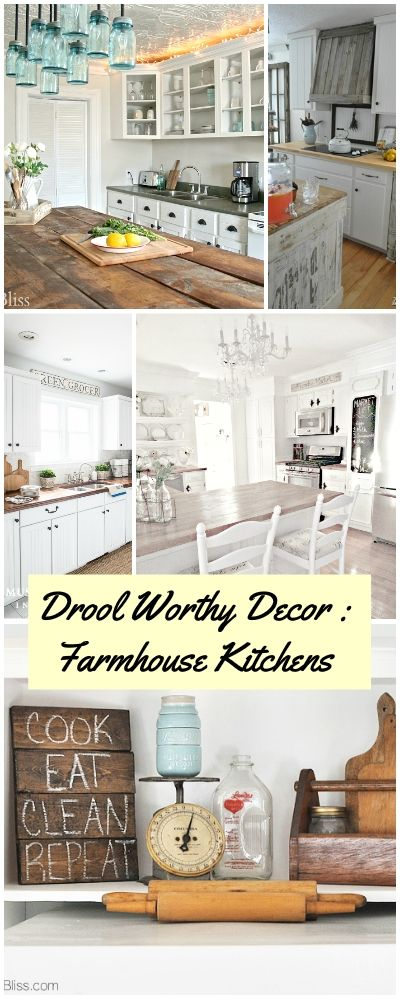 Drool Worthy Decor : Farmhouse Kitchens • Join us in our tour of some amazing bloggers Farmhouse