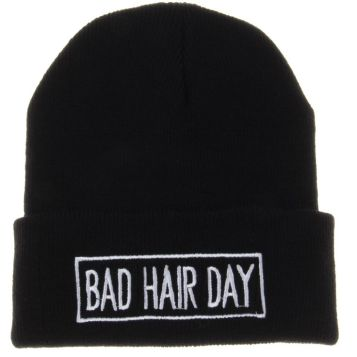 Soyagift Winter Knit Bad Hair Day with Line Beanie Hat (Black) at Amazon Men's Clothing store: