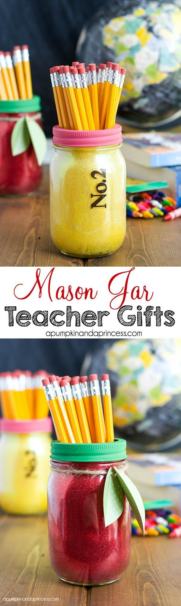 Glitter Mason Jar Teacher Gifts – A Pumpkin And A Princess teacher gifts, gift ideas for teachers