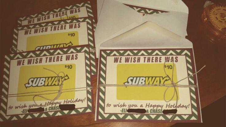 Subway Gift Card Teacher Holiday Or Christmas Present