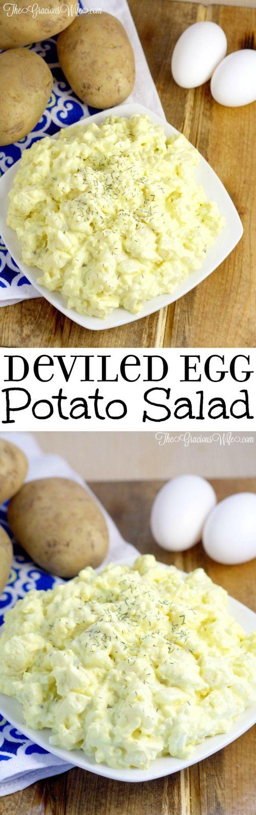Deviled Egg Potato Salad Recipe – Easy potato salad side dish recipe inspired by devil eggs. Perfect for BBQ, picnics, and